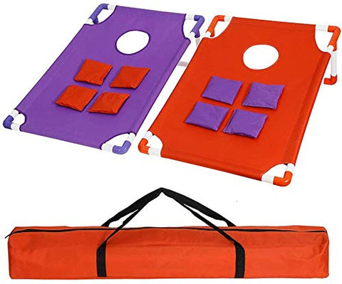 Smartxchoices 3FT X 2FT Portable PVC Framed Cornhole Toss Game Set with 8 Bean Bags and Carrying Case, Funny Party Game for Yard, Lawn, Gatherings, Outdoor, Indoor