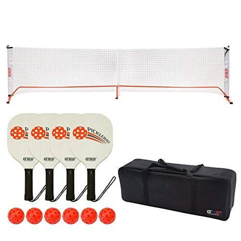 GSE Games & Sports Expert Professional Portable Pickleball Complete Set. Including Pickleball Net System, 4 Pickleball Paddles, 6 Outdoor Pickleballs (Orange) (Orange) [product _type] GSE Games & Sports Expert - Ultra Pickleball - The Pickleball Paddle MegaStore