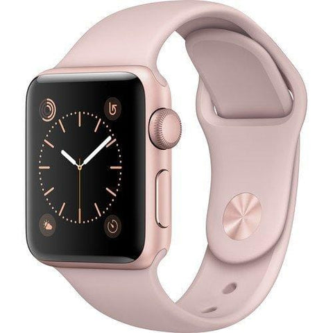 Apple Watch Series 2 Smartwatch 38mm Rose Gold Aluminum Case, Pink Sand Sport Band (Renewed)