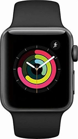 Apple Watch Series 3 - GPS+Cellular - Space Gray Aluminum Case with Gray Sport Band - 38mm (Renewed)