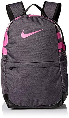 Nike Kids' Brasilia Backpack, Kids' Backpack with Durable Design & Secure Storage, Thunder Grey/Black/Active Fuchsia