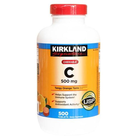 Kirkland Signature Chewable Vitamin C 500 Mg Tangy Orange Taste: 500 Tablets