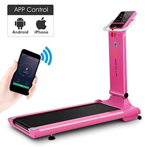 Goplus 1.5HP Electric Folding Treadmill Portable Motorized Running Machine Home Gym Cardio Fitness w/App (Pink)