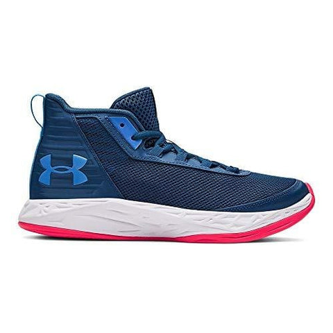 Under Armour Boys' Grade School Jet 2018 Basketball Shoe, Petrol Blue (404)/White, 5.5 M US Big Kid