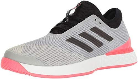 adidas Men's Adizero Ubersonic 3 Tennis Shoe, Matte Silver/Black/Flash red, 11 M US