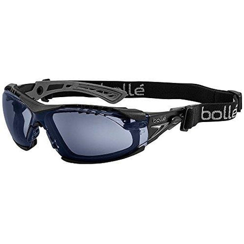 Bolle Safety Rush+ Safety Glasses with Assembled Foam and Strap, Black & Grey Frame, Twilight Lenses