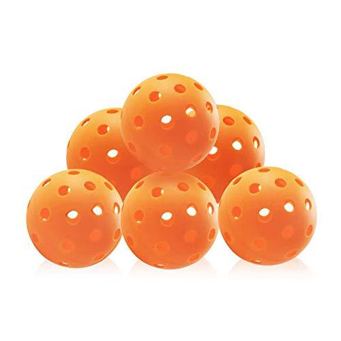 SHOWPIN Pickleball Balls Outdoor Pickleball Balls with 40 Holes, Orange (Outdoor 6 Pack)