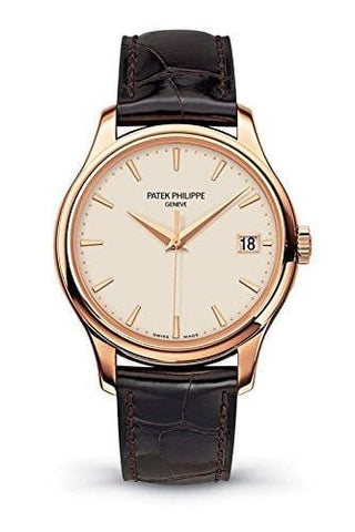 Patek Philippe Calatrava Mechanical Ivory Dial Leather Mens Watch 5227R-001