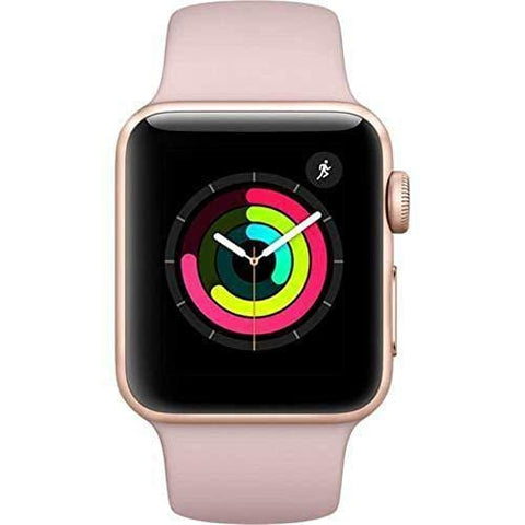 Apple Watch Series 3 38mm Smartwatch (GPS Only, Gold Aluminum Case, Pink Sand Sport Band) (Renewed)