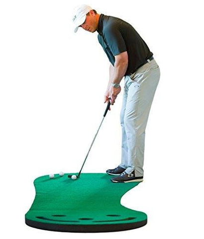 Shaun Webb Golf Indoor Putting Green - Mat for Back Swing Practice, Training - Golfing Aids, Simulators, Gifts, Accessories for Home, Office - 3-Hole Design, Sand Trap, Grass Carpet Surface - 9x3 Feet