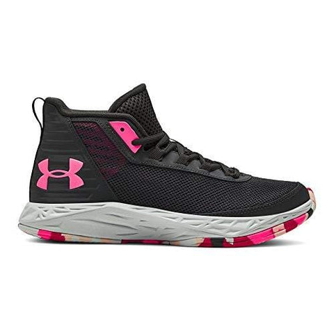 Under Armour Girls' Grade School 2018 Basketball Shoe Jet Gray (100)/Mojo Pink 4 M US Big Kid