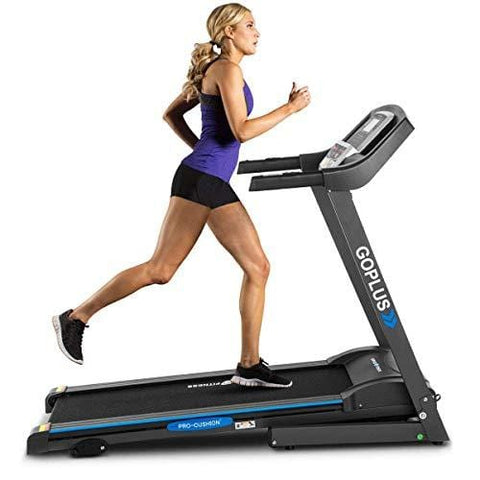 Goplus 2.25HP Electric Folding Treadmill with Incline, Walking Running Jogging Fitness Machine with Blue Backlit LCD Display for Home & Gym Cardio Fitness (Black Jaguar Ⅱ)