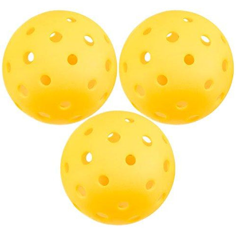 Crown Sporting Goods Pickleball Balls, Standard Size (40 Hole Pattern) - Outdoor Game, Practice, Training Polymer Balls, Goldenrod Yellow (3-Pack)