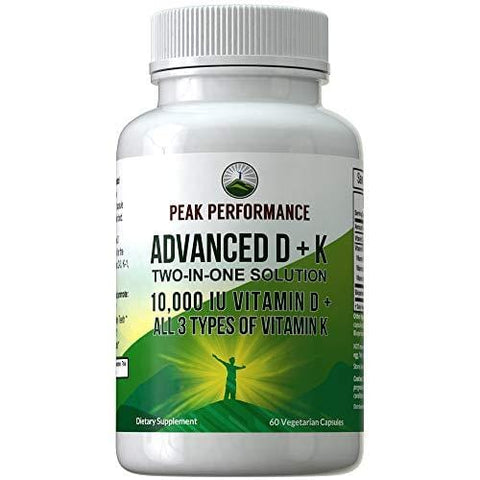 Advanced Vitamin D 10000 IU + All 3 Types of Vitamin K Capsules by Peak Performance. 10,000 IU Vitamin D3 and Vitamin K2 MK-7 (MK7) K2 MK4 K1 Supplement! 60 Small & Easy to Swallow Pills
