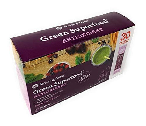 Amazing Grass Green Superfood Antioxidant Organic Powder with Wheat Grass, Elderberry, and Greens, Flavor: Sweet Berry, Box of 30 Individual Serving