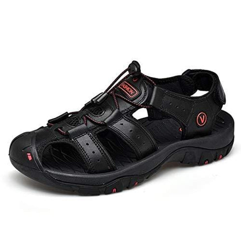 Men's Sports Sandals Male Leather Flats Casual Beach Shoe Athletic Breathable Swiftwater Mesh Sandal (US:9.5, Black)
