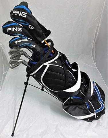 Mens Ping Complete Golf Set Driver, Wood, Hybrid, Irons, Putter, Clubs & Deluxe Stand Bag Stiff Flex