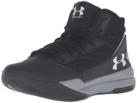 Under Armour Men's Grade School Jet Mid Basketball Shoe, Black (001)/Steel, 7