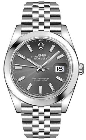 Men's Rolex Datejust 41 Dark Rhodium Oystersteel Watch (ref. 126300) [product _type] Rolex - Ultra Pickleball - The Pickleball Paddle MegaStore