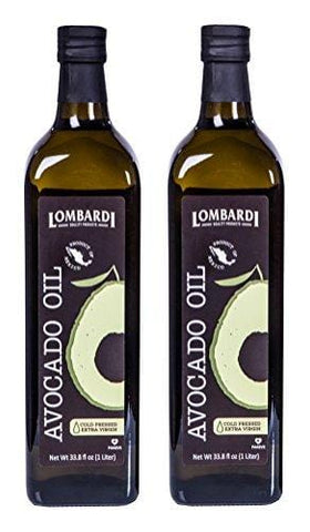 2 Pack Lombardi Extra Virgin Avocado Oil 67.6 fl oz (2 x 33.8 fl oz) Premium Quality 2 Liters (2 x 1 Liter) Kosher Non-GMO Product of Mexico Cold Pressed for Cooking, Backing, Salad Dressing