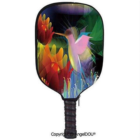 AngelDOU Art Soft Neoprene Pickleball Paddle Racket Cover Case Fantasy Digital Paint with A Bird Swallows Honey from Flower Stock Fractal Artwork Decorative Fit for Most Rackets.Multicolor