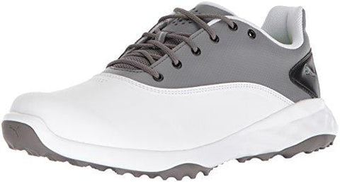 PUMA Golf Men's Grip Fusion Golf Shoe, White/Quiet Shade/Black, 11 Medium US