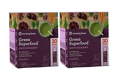 Amazing Grass Green Superfood Antioxidant Organic Powder with Elderberry, Wheatgrass and 7 Super Greens | Sweet Berry: 30 Count Packets Non-GMO w/ 15,000 ORAC Units per serv (2 Pack- 60 Serve)