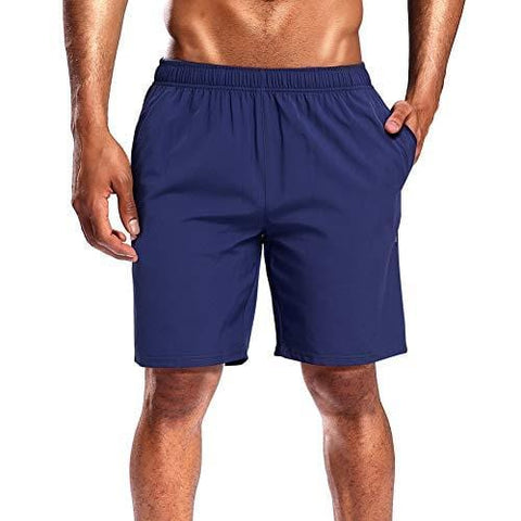 CAMEL CROWN Running Shorts Men Pockets Quick Dry Light Breathable Athletic Shorts for Gym Basketball Workout Active Training Dark Blue M 1 Pack