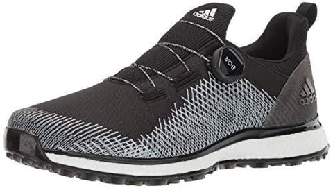 adidas Men's FORGEFIBER BOA Golf Shoe core Black/FTWR White/hi-res Yellow 9.5 M US