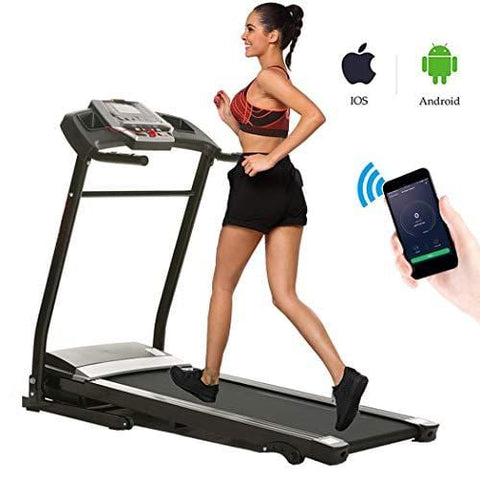 Miageek Fitness Folding Electric Jogging Treadmills with Smartphone APP Control, Walking Running Exercise Machine Incline Trainer Equipment Easy Assembly