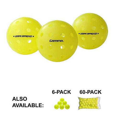 Gamma Sports Photon Outdoor Pickleballs, High-Vis Optic Green USAPA Approved Pickleball Balls (3 Pack)
