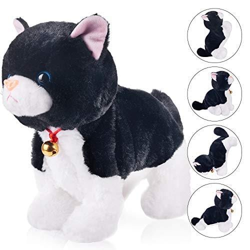Black Plush Cat Stuffed Animal Interactive Cat Robot Toy, Barking Meow  Kitten Touch Control, Electronic Cat Pet, Cat Kitty Toy, Animated Toy Cats  for
