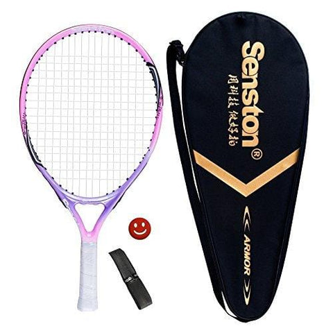 "Senston 19"" Junior Tennis Racquet for Kids Children Boys Girls Tennis Rackets with Racket Cover Pink with Cover Tennis Overgrip Vibration Damper"