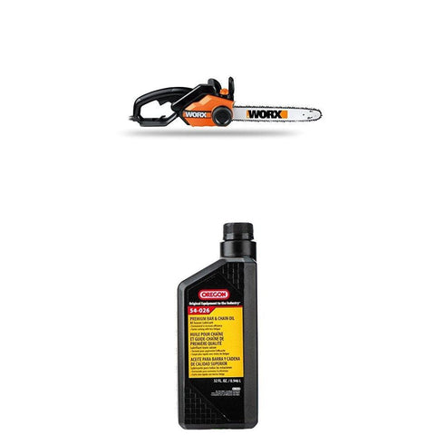 WORX 16-Inch 14.5 Amp Electric Chainsaw with Auto-Tension, Chain Brake, and Automatic Oiling - WG303.1 WITH Oregon 54-026 Chain Saw Bar And Chain Oil - Quart