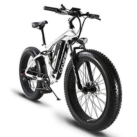 Cyrusher XF800 Fat Tire Electric Bike 1000W 48V Mens Mountain Bike Snow Ebike 26inch Bicycle Full Suspension Fork Hydraulic Brakes