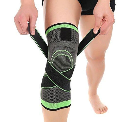 ASOONYUM Knee Sleeve Green L 3D Weaving Knee Brace Breathable Support for Running, Jogging, Sports, Joint Pain Relief, Arthritis and Injury Recovery, Single Wrap, Large