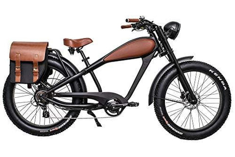 CIVIBIKES 48V 750W Bafang Vintage Electric Bike Fat Tire Cheetah Beach Cruiser Electric Bike (Black/BROWNLEATHER 17.5Ah Full Bundle $100 Off)