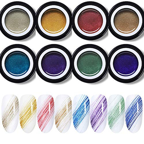 BORN PRETTY 10 Boxes Glittery Drawing Gel Polish Nail Art Pull Line Gel Thick Elastic Paint Gel 5ml/box