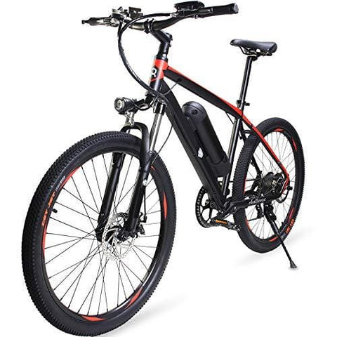 DSBL 26 inch Aluminum Electric Mountain Bike Shimano 7 Speed E-Bike 36V 10.4Ah Lithium Battery 350W Electric Bicycle 26 inch Adult Assisted E-Bike (Red)