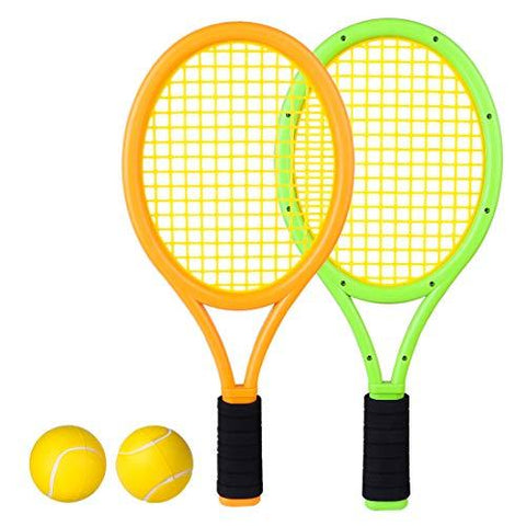 Lingxuinfo Kids Tennis Rackets Tennis Racquet Play Game Beach Toys Badminton Set for Kids with 2 Rackets