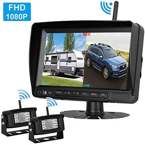 2019 Vision FHD 1080P Digital Wireless Dual Backup Cameras 7''DVR Monitor Kit for RVs,Trucks,5th Wheels Support Split/Quard View Screen High-Speed Observation System IP69K Waterproof Driving/Reverse