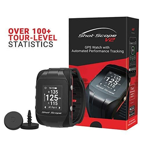 Shot Scope V2 Smart Golf Watch – GPS Dynamic Yardages; Automatic Performance Tracking; Worldwide Courses; 100+ Statistics for Clubs, Tee Shots, Approaches, Short Game and Putting