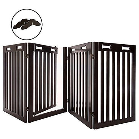 "Arf Pets Free Standing Wood Dog Gate with Walk Through Door, Expands Up to 80"" Wide, 31.5"" High - Bonus Set of Foot Supporters Included - Upgraded 2019 Stronger Model"