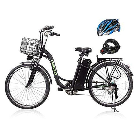 "26"" 250W Cargo Electric Bicycle 6-Gear Speed Sporting Ebike 36V10A Lithium Battery -Class AAA(Black)"