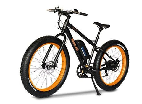 Emojo Wildcat Electric Bike Mountain 26 inch Fat Tire Electric Power Bicycle, with 500W Motor and Removable 48V 10.4AH Lithium Battery (Black & Orange)