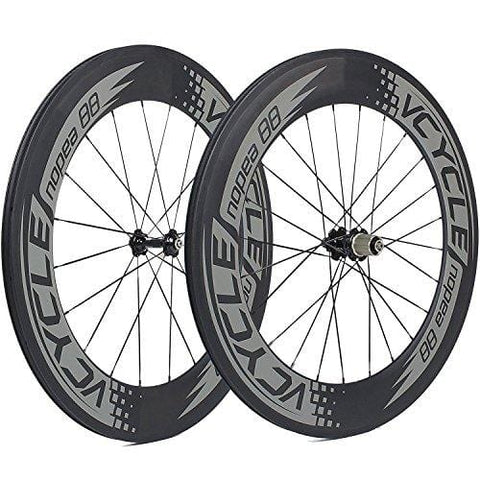 VCYCLE Nopea 700C Carbon Racing Road Bicycle Wheelset 88mm Clincher 23mm Width Shimano or Sram 8/9/10/11 Speed