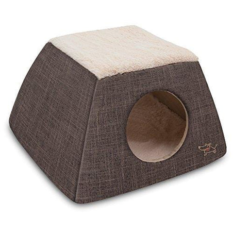 2-in-1 Cat Bed and Cave - with Plush Lining by Best Pet Supplies, Medium, Dark Brown
