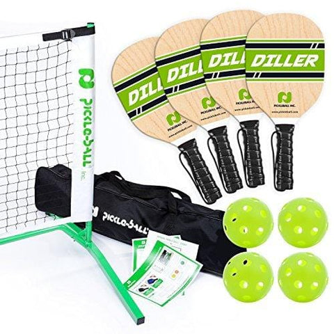 Pickle-Ball, Inc. Pickleball Diller Tournament Net Set (Set Includes Metal Frame + Net + 4 paddles + 4 balls + Rules Sheet in Carry Bag) || Makes A Great [product _type] Pickle-Ball - Ultra Pickleball - The Pickleball Paddle MegaStore