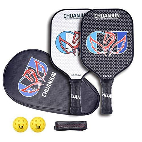 Chuanjun Pickleball Paddle Set - 2 Premium Graphite Rackets Honeycomb Composite Core Balls, Ultra Cushion Grip, Lightweight with Cover, Pickleball Racquet for Men Women Kids Indoor Outdoor