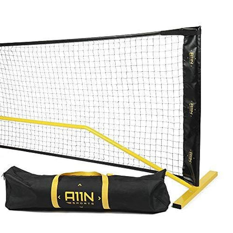 "A11N Portable Pickleball Net System, Designed for all Weather Conditions with Steady Metal Frame and Strong PE Net, Regulation Size Net with Carrying Bag- 22' Wide x 36"" Tall, Indoor/Outdoor Use"
